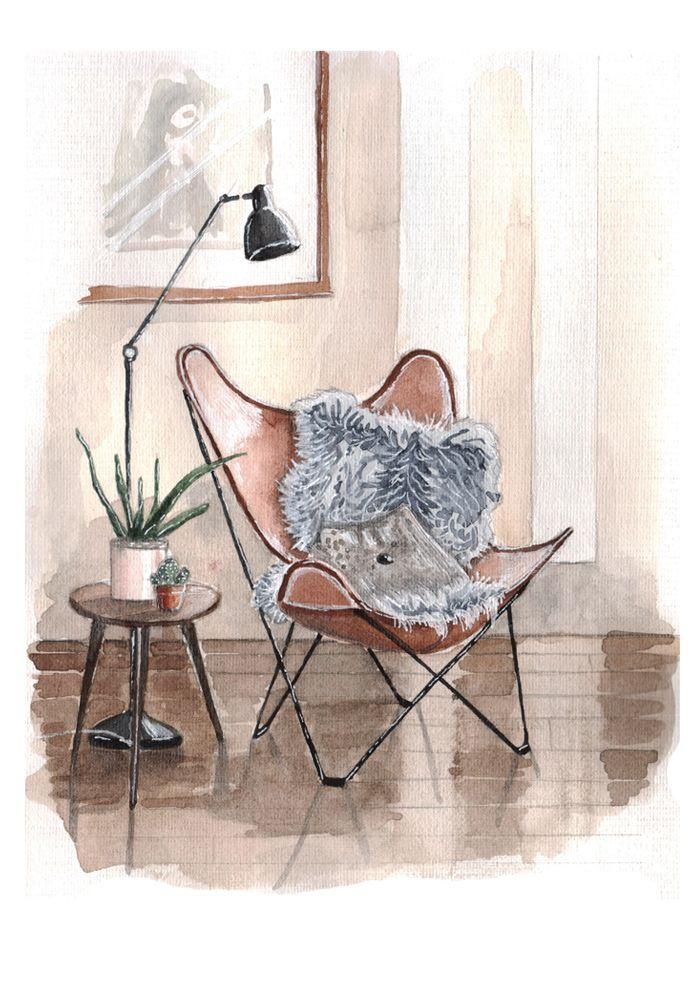 interior sketch, watercolor