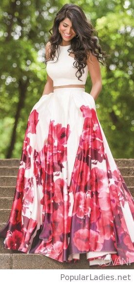 Long floral skirt and crop top
