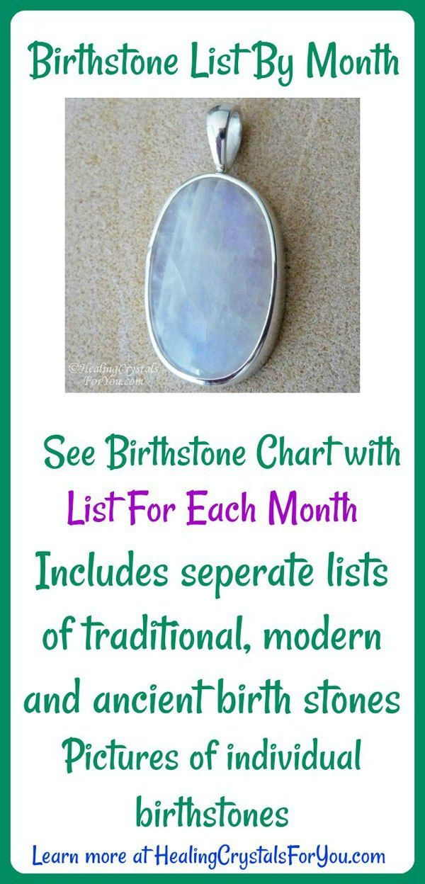 Birthstone List By Month See Birthstone Chart with your months birthstone Includes ancient, modern and traditional birth stones List for each month. See pictures of birthstones.