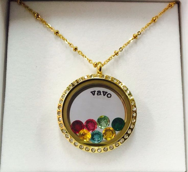 Vavo custom stamped plate floating locket gold