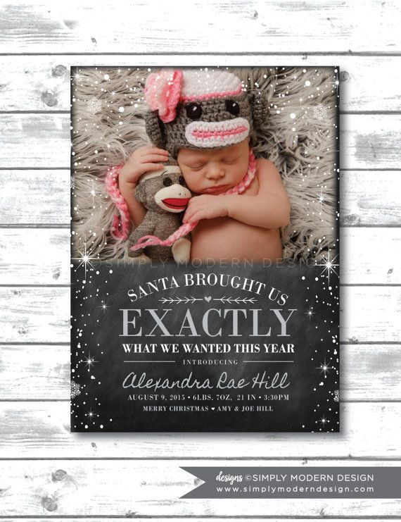Holiday birth announcement chalkboard by SimplyModernDesignx