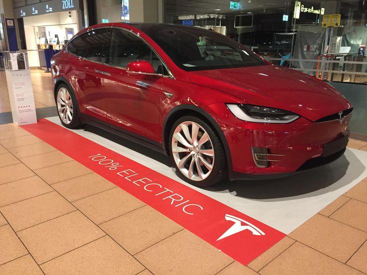 Tesla is displaying the Model X at Hamburg Airport (Germany) #Tesla #Models #car #Automotive #cars #Autos
