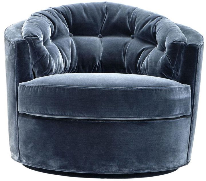 #ArtDeco swivel base #Occasional #chair with faded Cameron blue #velvet finish. Channel a touch of 1920s nostalgia into the heart of your design scheme with the Eichholtz Recla Swivel Chair. Taking style cues from the elegant furniture proportions of the Art Deco era, this retro-meets-modern chair is the perfect injection of retrained glamour for your lounge or hallway interior.