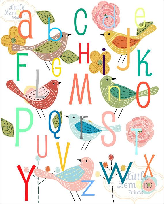 8x10 Alphabet ABC Birds Nursery Print by LittleLemonPrints on Etsy, $12.99