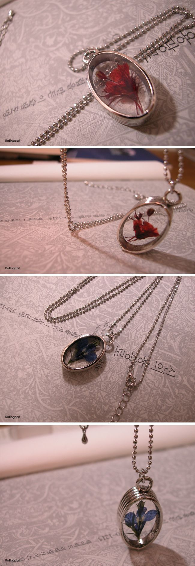 resin necklaces - Press flowers