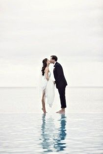 Beach Wedding Photography ♥ Romantic Wedding Photography  Love it but how did they do it?? either photoshop or put a platform under the water