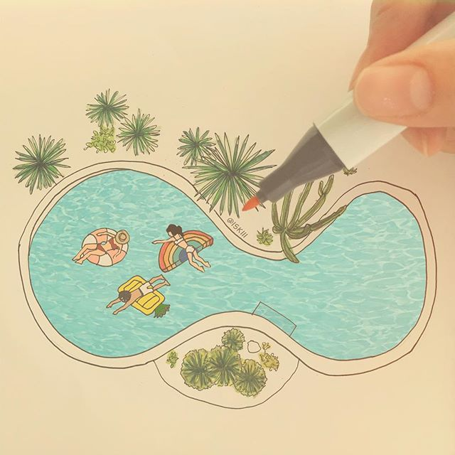 pools these days II 🌈  ❑ art by https://www.instagram.com/iskiii/