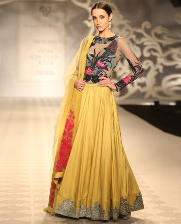 VARUN BAHL Poppy Yellow Lengha with Applique Work