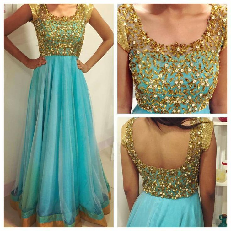 Sea blue and gold floor length anarkali. Geethika Kanumilli.