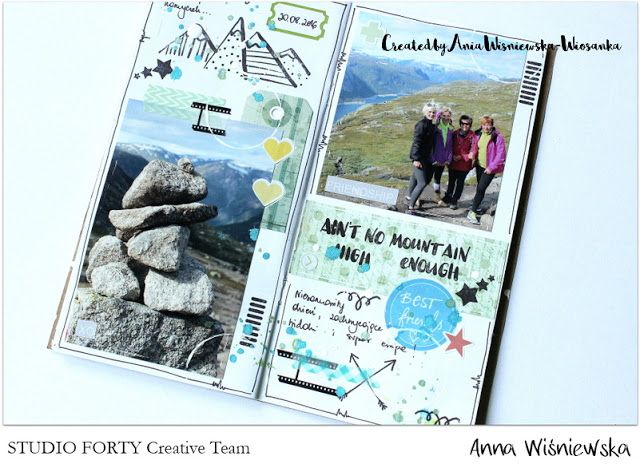 StudioForty.pl CT member Wiosanka made a great pages in her Traveler's notebook using studioforty stamps and stickers.