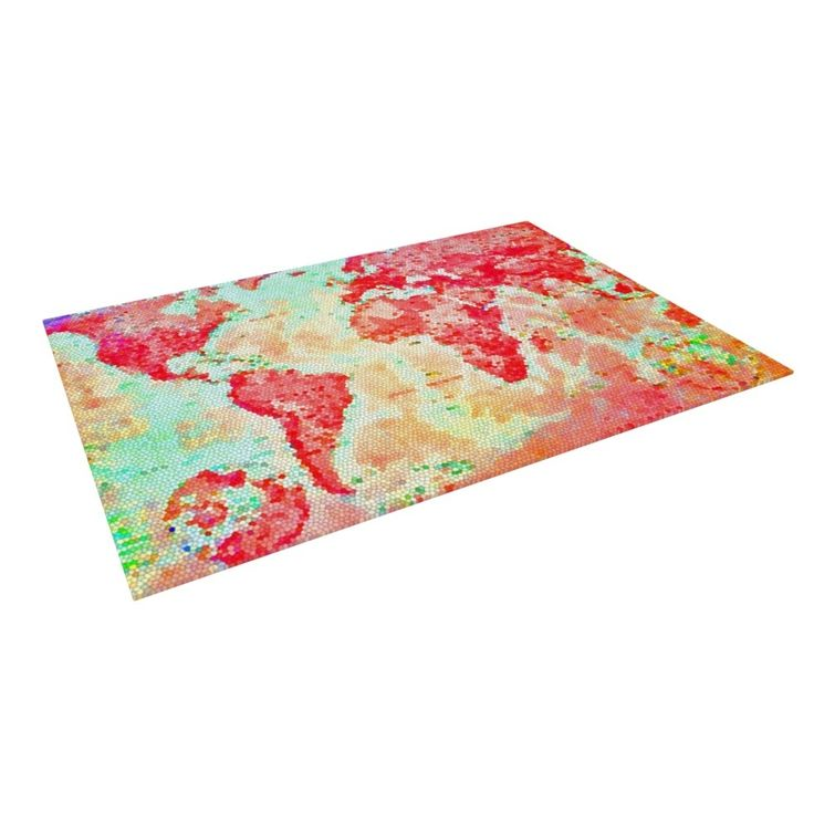 Kess InHouse Alison Coxon Oh The Places We'll Go World Map Outdoor Patio Rug