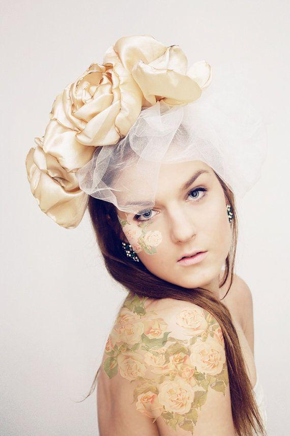 Vintage rose  Beige floral crown with veil by DDSLLGirlsStore, $55.00