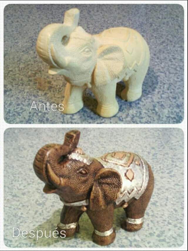 Elefante efecto madera y plata