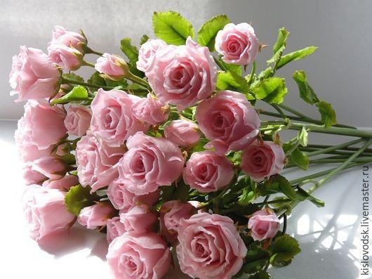 Купить Букет Розовый жемчуг. - розовый, букет из полимерной глины, ручная работа, розовые розы