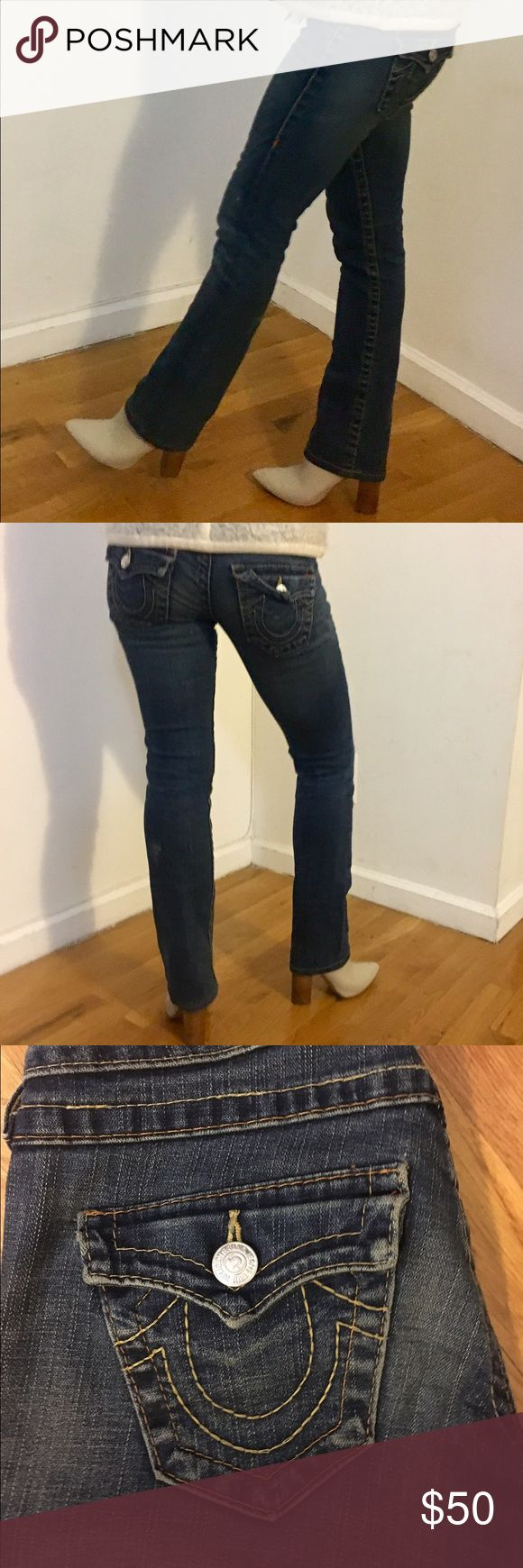 "True Religion Women's jeans! True Religion boot cut petite jeans with nearly no sign of wear! 34"" from hip to bottom and 29"" from crotch to bottom. Comfy and timeless jeans! Please let me know if you have any questions. True Religion Jeans Boot Cut"