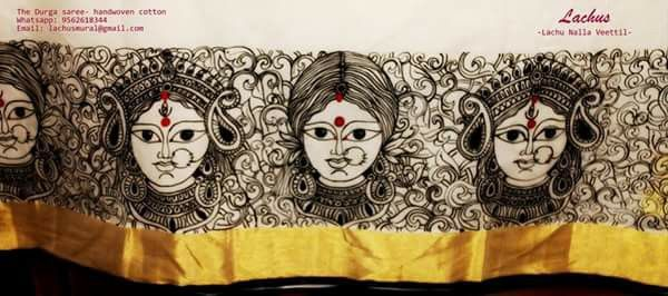 The durga handpainted saree specially made for navrathi festival. The faces of goddess durga and ordinary women of todei are assembled on the borders ... Just to convey a feeling that goddess durga resides within every women.. When a woman is worshipoed on one side with great pomp n show .. Why is she abused and sexually harrassed on the other side.No matter whatever u do to curtail her.. Cage her or drown her.. She will only rise float n flyy!