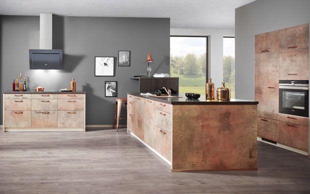 küchentrend kupfer kücheninsel mit kupfer oberflächen