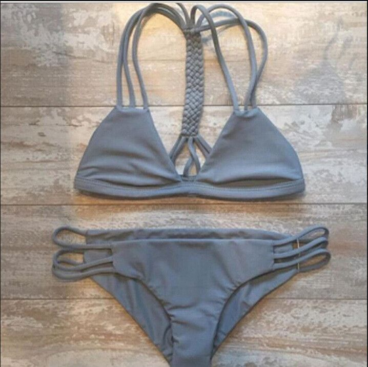 Grey Strappy Cross Bikini Top And Hipster Bottom #216134