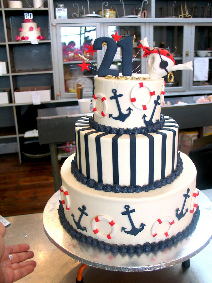 nautical centerpieces | tier Wicked Chocolate Nautical themed cake iced in white butter ...