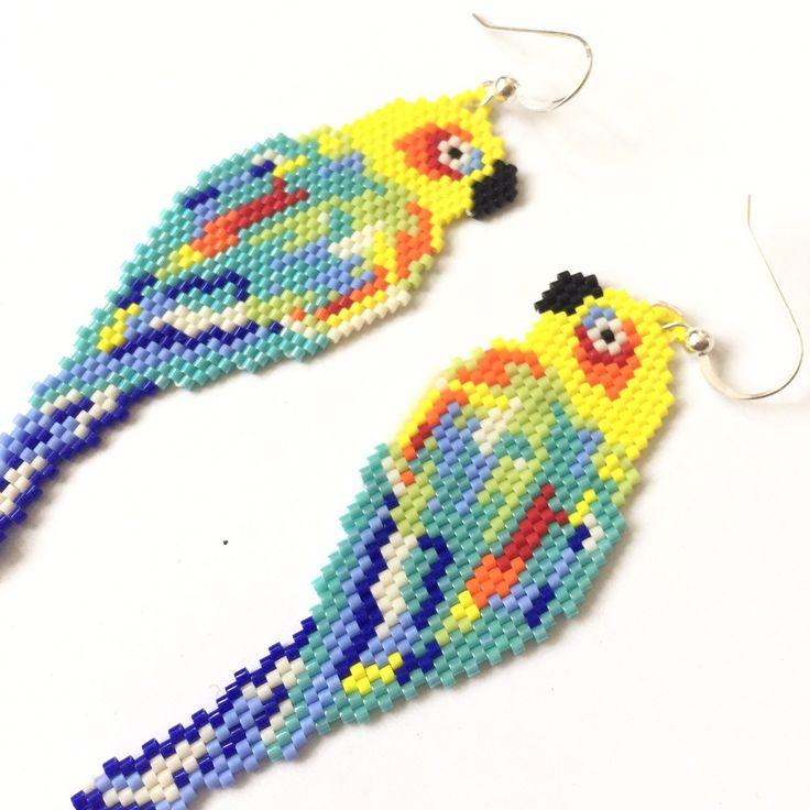 Beaded tropical bird earrings Very colorful and cute earrings to wear