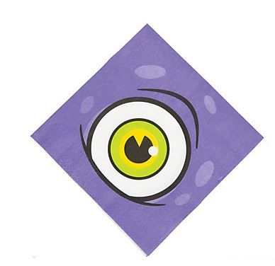 Monster Party Serviettes (16).  Don't fret if you spot any messes!. The giant eyeball will surely find them for you! Just place these big purple Monster Party Lunch Serviettes on your party table for a little extra help keeping your kids' monster themed birthday party or Halloween get together spotless and clean.  Paper. (16 pcs.) 33 cm