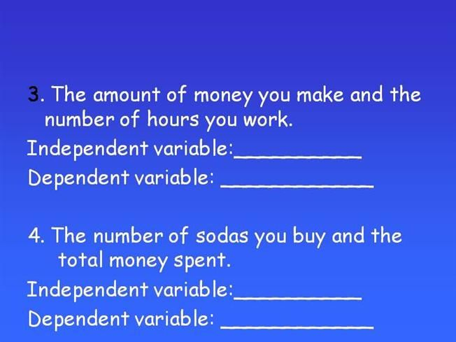 what are dependent and independent variables in a research paper Every experiment has at least two types of variables: an independent and dependent an independent kind of hahaha maybe you would like to write my paper want you to send to me some health research topics showing the dependent and independent variables through my e-mail.
