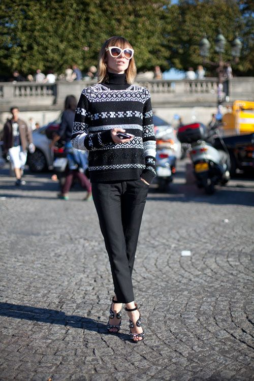 STREET STYLE SPRING 2013: PARIS FASHION WEEK - Anya get fair isle in a cozy sweater.