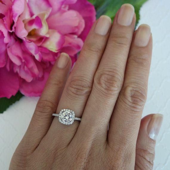 1.25 ctw Classic Square Halo Engagement Ring Man by TigerGemstones