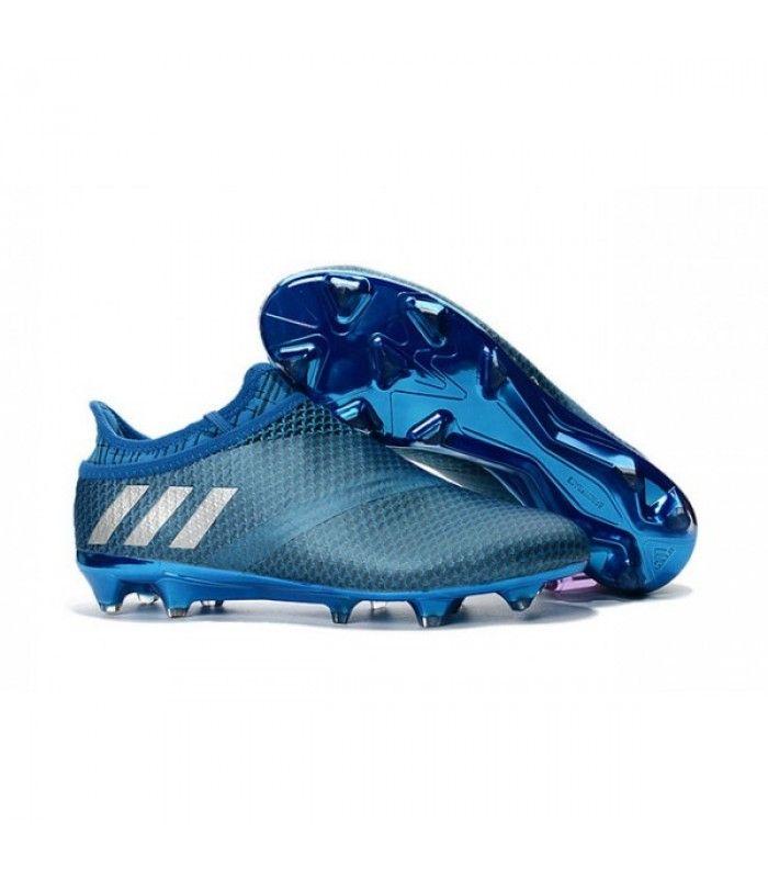 Acheter Adidas Messi 16+ Pureagility FG/AG Chaussures de football pour Homme Bleu Argent Noir pas cher en ligne 119,00€ sur http://cramponsdefootdiscount.com