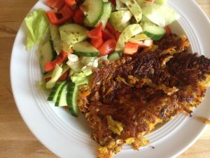 gemischter Salat mit Kartoffelpuffer   – Clean Eating Woche – Blogparade