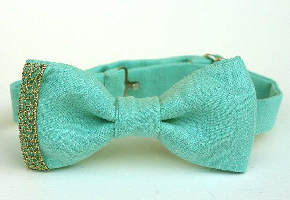 Mint and Gold Bow Ties - Seafoam Green Bowtie - Groomsmen Ties - Groom - Mint Bow Ties Wedding - Custom Bow Ties