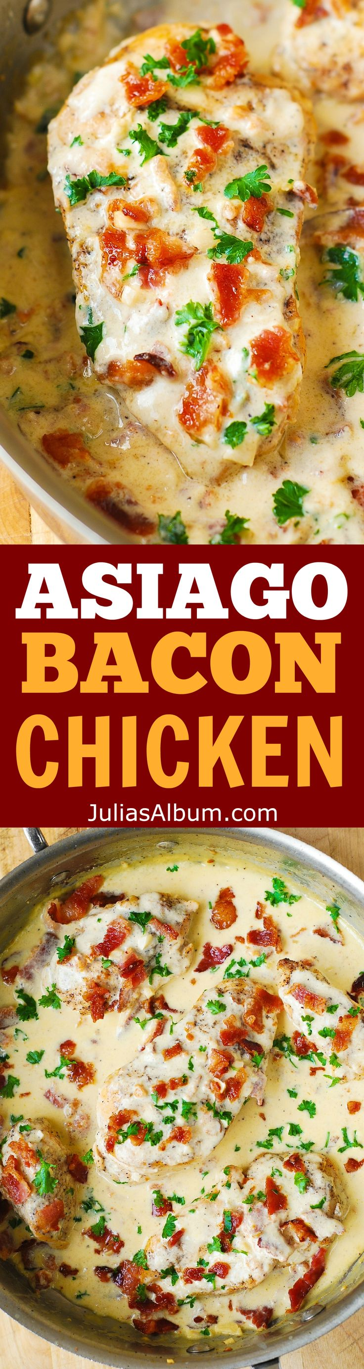 Asiago Chicken with Bacon Cream Sauce