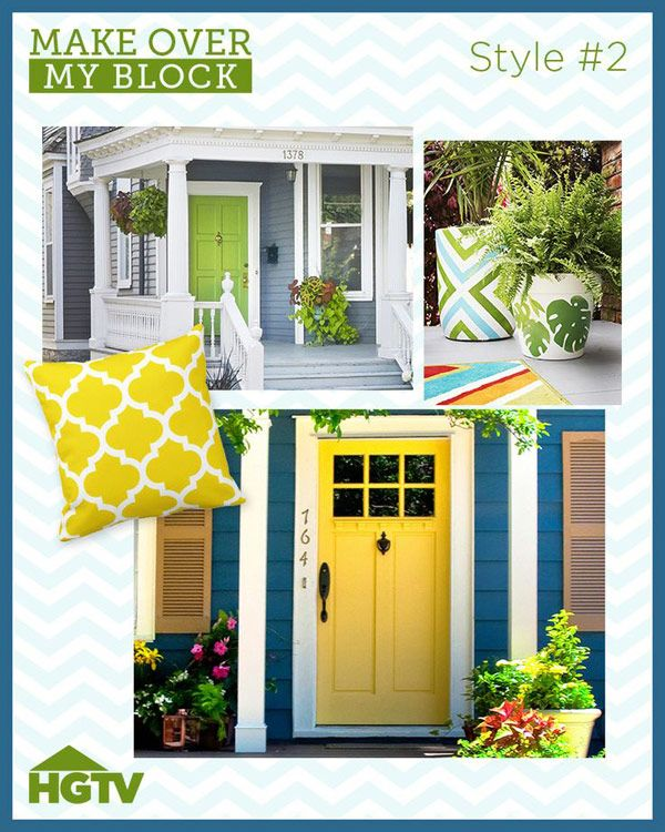 "The ""Make Over My Block"" Winning Design Style (http://blog.hgtv.com/design/2014/03/12/the-make-over-my-block-winning-design-style/?soc=pinterest)Hgtv Design, Decor Ideas, Doors Yellow, Block Design, Curb Appeal, Yellow Doors, Doors Colors, Hgtv Magazine, Design Style"