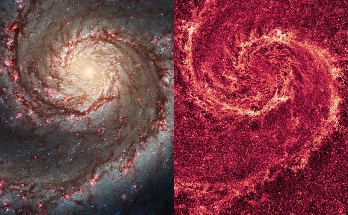 Visible light (left) and infrared image (right) of the Whirlpool Galaxy, taken by NASA's Hubble Space Telescope
