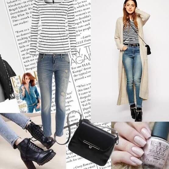 Длинный кардиган молочного цвета в сочетании с джинсами и кофтой в полоску – эффектный повседневный образ