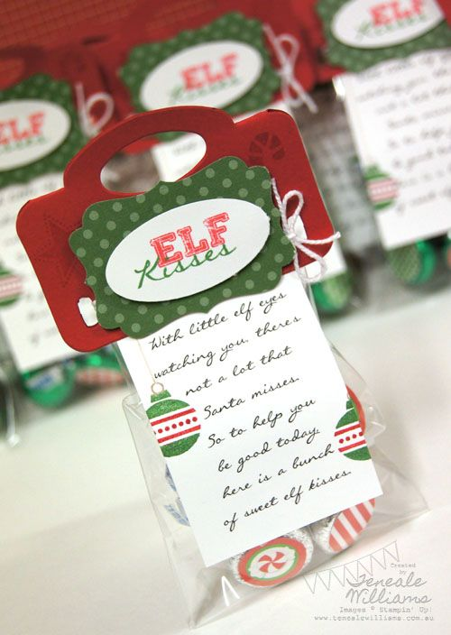 Elf Kisses Poem:  With little elf eyes watching you theres not a lot that Santa misses.  So to help  you be good today here is a bunch of sweet elf kisses.   (decorate bottom of kisses and put in a bag and decorate.