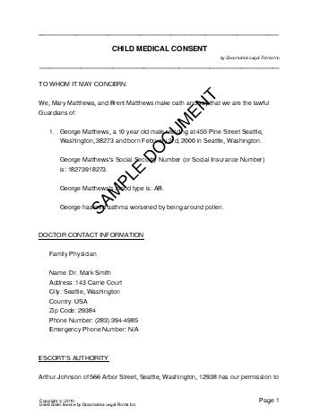 Child Medical Consent (USA) - Legal Templates - Agreements ... - medical consent form for minors
