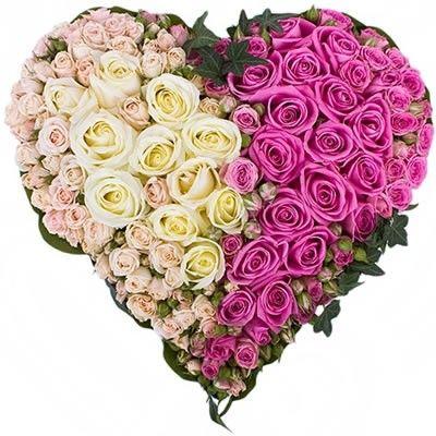 "Сердце из роз ""твоя половинка"" на биофлоре. Бесплатная доставка в Москве http://www.dostavka-tsvetov.com/osobye-bukety/serdechnoe-nastroenie"
