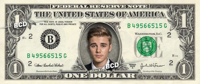 JUSTIN BIEBER on REAL Dollar Bill Collectible Celebrity Cash Memorabilia Money Bank Note Dinero Currency Unique Gift by Vincent-the-Artist, $8.88 USD