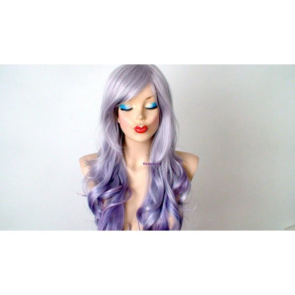 Pastel Wig Silver lavender/teal Purple Ombre Wig Long Curly Hairstyle... ($180) ❤ liked on Polyvore featuring beauty products, haircare, hair styling tools, bath & beauty, hair care, silver, wigs and curly hair care