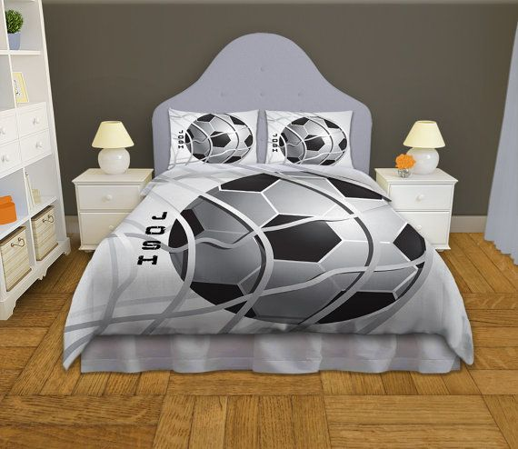 Bedding Soccer, Personalized Soccer Bedding, Athletic Bedding, Duvet Cover, King, Queen, Twin, College, Dorm, Twin XL Duvet Cover #13
