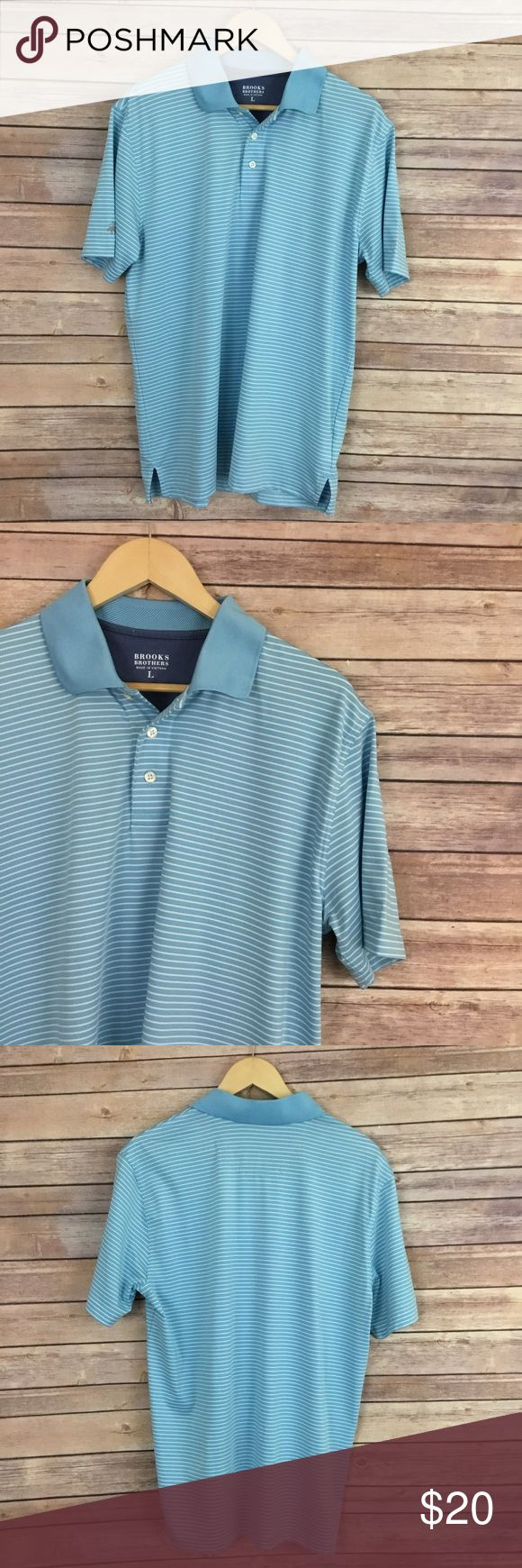 Brooks Brothers Striped Polo Brooks Brothers Striped Polo - short sleeve, blue and white stripes. Size L. In overall good condition with some flaws on the front, as pictured above. Brooks Brothers Shirts Polos