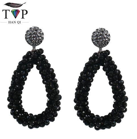 Crystal Dangle Earrings Water Drop Earring Women Black White Hanging Earring kristallen oorbellen Bohemia Style Club Factory