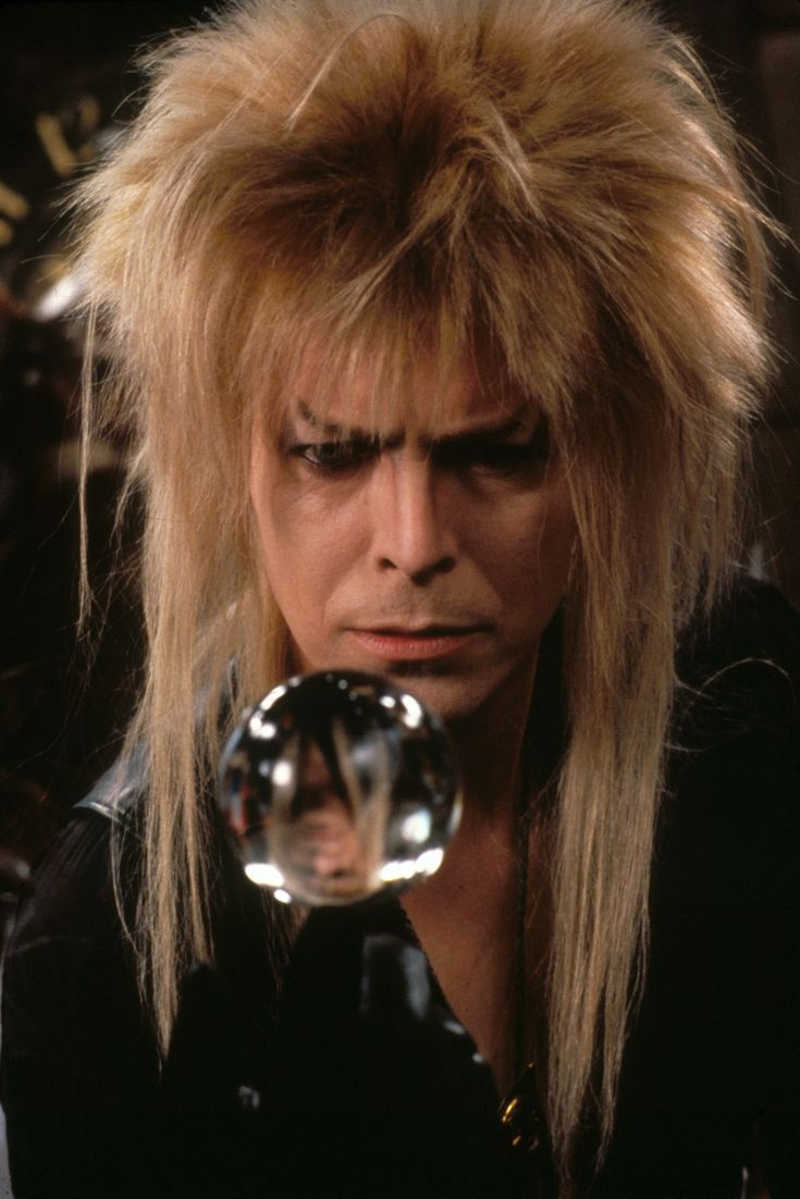 David Bowie as Jareth The Goblin King | Men with long hair ... Labyrinth David Bowie