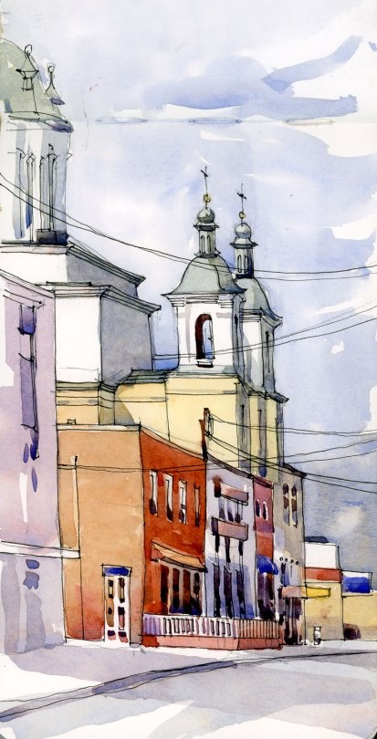 Shari Blaukopf, watercolor city street