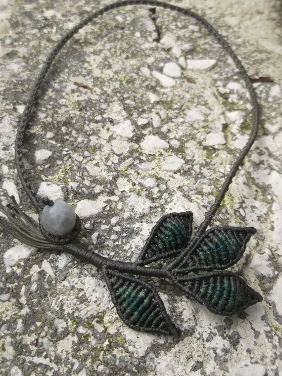 Macrame micro macrame necklace ...Olive leaves by crystalayana