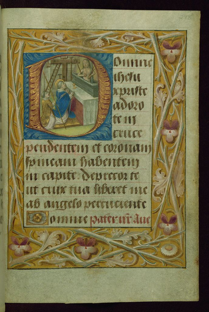 This Book of Hours was completed in the 1480s for Adolph, duke of Cleves, count of La Mack, lord of Ravenstein and Wijnendale (1425-92), and member of the entourage of the dukes of Burgundy until 1477 and thereafter in a position of personal trust under Archduke Maximilian, husband of Mary of Burgundy (d. 1482). The manuscript is highly illuminated and includes two portraits of Adolph of Ghent: a full-page miniature portraying the duke kneeling before a portrait of the Virgin and Child (fol…