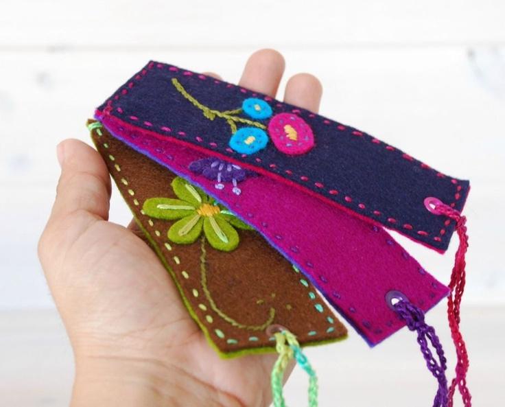 Wool Felt Bookmark - Handmade Bookmarks  - 100% Wool Felt Bookmarks. $8.00, via Etsy.
