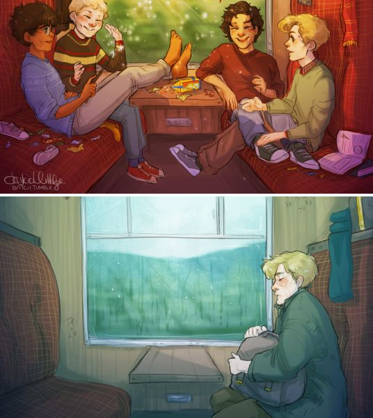 every year the marauders probably sat in the same spot on the hogwarts express, from when they were little bitty eleven-year-olds to the last time they rode away from the place where they found home and family, practicing silly spells and trading chocolate frog cards and planning the year's pranks or the summer's gatherings   and when remus rode to hogwarts to teach, he probably sat in that same spot and thought that the silence was louder than four teenage boys ever were. art by batcii