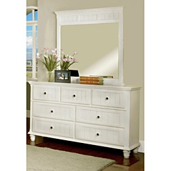 @Overstock - This attractive Delia set features a contemporary style with a total of seven drawers that runs smoothly on ball bearing glides. An eye catching mirror stands tall on the dresser with a stylish top frame completes the set.http://www.overstock.com/Home-Garden/Delia-Fresh-2-Piece-White-Dresser-with-Mirror-Set/6982512/product.html?CID=214117 $709.99